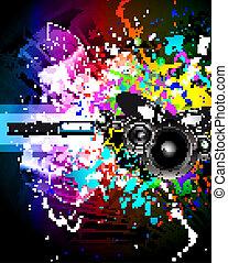 discoteque, regnbue farve, musik, flyer, holdning