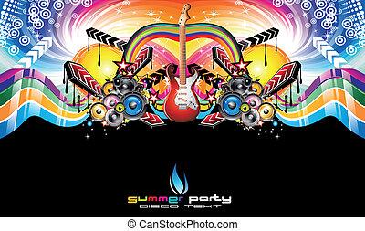 discoteque, voador, evento, coloridos