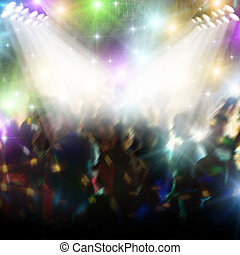 Dancing in discotheque with colored light