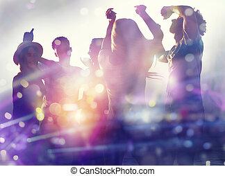 discotheque., doppelte belichtung, friends, tanzen