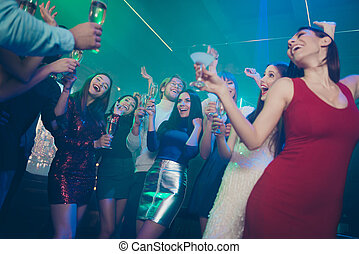 Discotheque event free time having recreation birthday day concept. Photo of excited crazy cheerful in short dress formal outfit guys ladies with red lip holding wine glass in hand saying best wishes