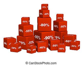 discoun, caixas, bens, vermelho
