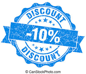discount 10% blue grunge stamp