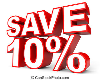 Discount 10 percent off. 3D illustration on white...