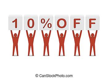 Discount. 10 percent off. Concept 3D illustration.