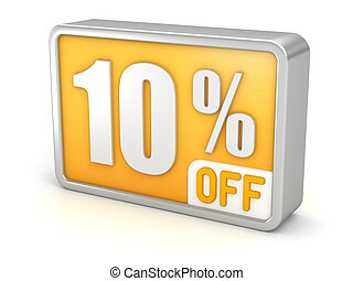 Discount 10% sale 3d icon on white background