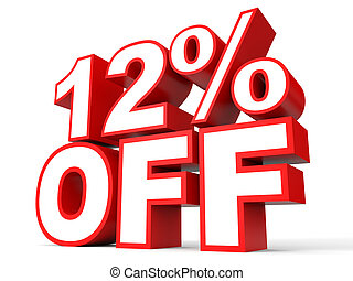Discount 12 percent off. 3D illustration on white...