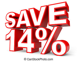 Discount 14 percent off. 3D illustration on white...