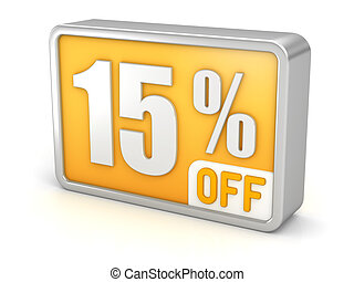 Discount 15% sale 3d icon on white background