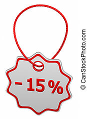 Discount - 15 % tag. 3D rendering.