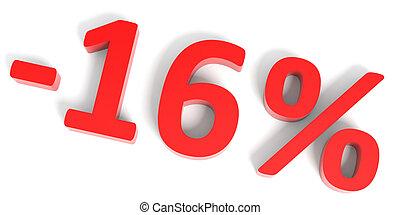 Discount 16 percent off sale. 3D illustration.