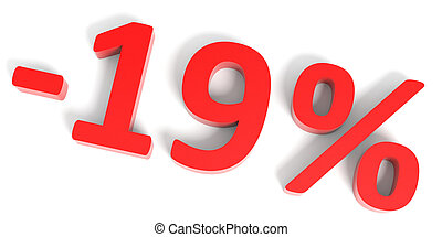 Discount 19 percent off sale. 3D illustration.
