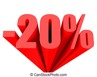 Discount 20 percent off sale. 3D illustration.