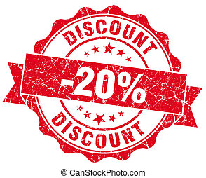 discount 20% red grunge stamp