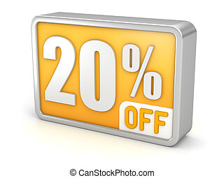 Discount 20% sale 3d icon on white background