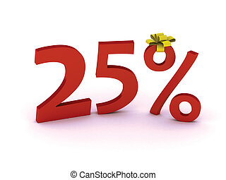 discount 25 - Big Red 25% off promotional sign