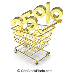discount 25%, shopping cart on white background.