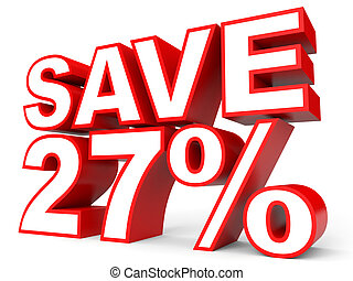 Discount 27 percent off. 3D illustration on white...