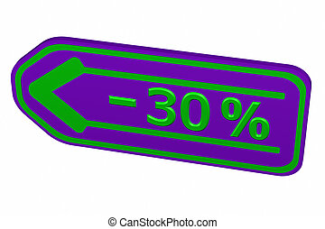 Discount - 30 % arrow. 3D rendering.