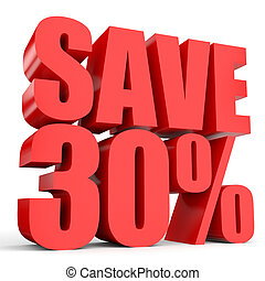 Discount 30 percent off. 3D illustration on white...