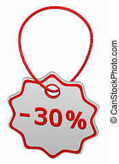 Discount - 30 % tag. 3D rendering.
