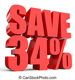 Discount 34 percent off. 3D illustration on white...