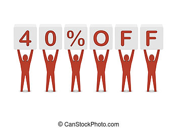 Discount. 40 percent off. Concept 3D illustration.