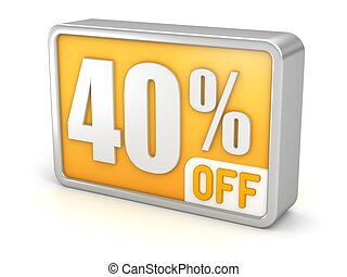 Discount 40% sale 3d icon on white background