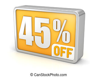 Discount 45% sale 3d icon on white background