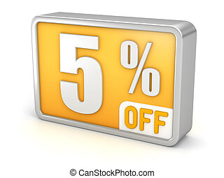 Discount 5% sale 3d icon on white background