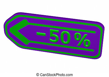 Discount - 50 % arrow. 3D rendering.