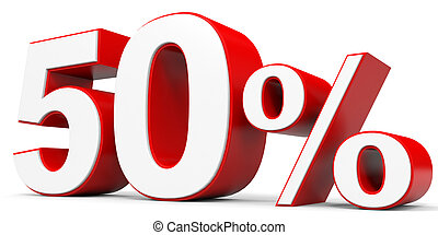 Discount 50 percent off. 3D illustration.