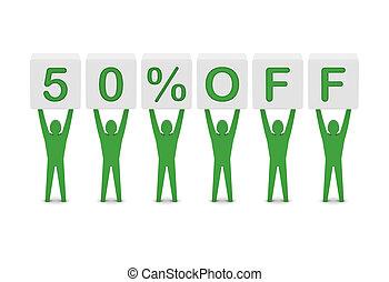 Discount. 50 percent off.