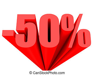 Discount 50 percent off sale.