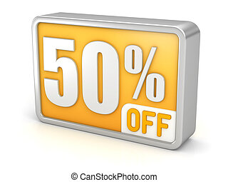 Discount 50% sale 3d icon on white background