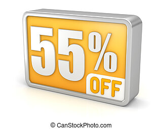 Discount 55% sale 3d icon on white background