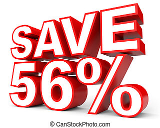 Discount 56 percent off. 3D illustration on white background.