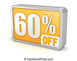 Discount 60% sale 3d icon on white background
