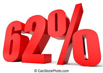 Discount 62 percent off. 3D illustration. - Discount 62...