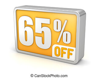 Discount 65% sale 3d icon on white background