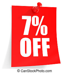 Discount 7 percent off. 3D illustration on white background.