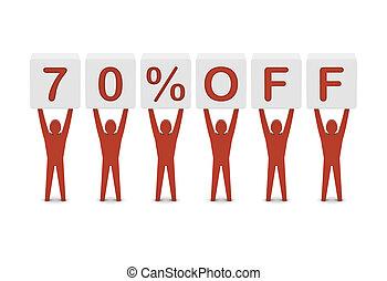 Discount. 70 percent off. Concept 3D illustration.