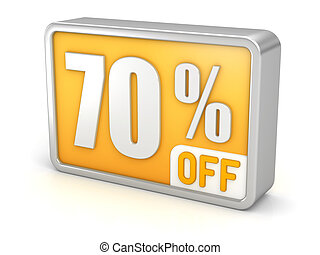 Discount 70% sale 3d icon on white background