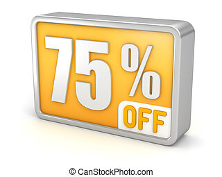 Discount 75% sale 3d icon on white background