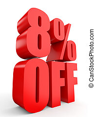 Discount 8 percent off. 3D illustration on white background.
