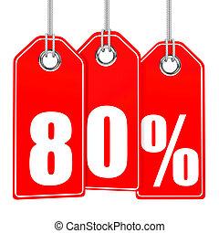 Discount 80 percent off. 3D illustration.