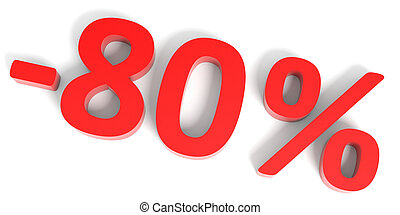 Discount 80 percent off sale.