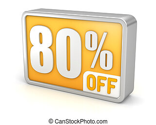 Discount 80% sale 3d icon on white background