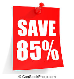 Discount 85 percent off. 3D illustration on white...
