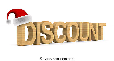 Discount and santa claus hat on white background. Isolated...